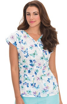 koi Prints Women's Natalie Mock Wrap Butterfly Print Scrub Top