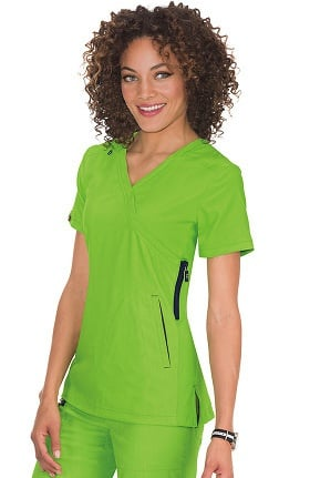 Clearance koi Lite Women's Philosophy Mock Wrap Side Zipper Solid Scrub Top