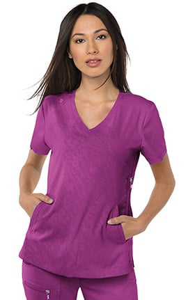 koi Lite Women's Philosophy Mock Wrap Side Zipper Embossed Solid Scrub Top