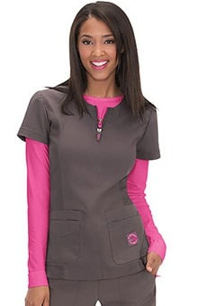 koi Lite Women's Serenity Zipper Neck Solid Scrub Top
