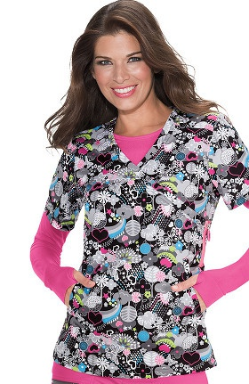 Koi Lite Women's Eternity Mock Wrap Butterfly Print Scrub Top