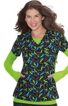 koi Lite Women's Eternity Mock Wrap Lightning Print Scrub Top