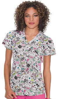 koi Lite Women's Eternity Mock Wrap Doodle Print Scrub Top