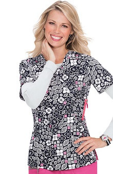 Koi Lite Women's Eternity Mock Wrap Floral Print Scrub Top
