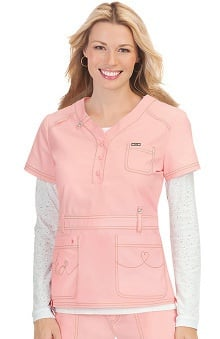 koi Women's Kendall Button Front Solid Scrub Top