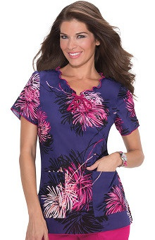 Koi Prints Women's Emma V-Neck Floral Print Scrub Top