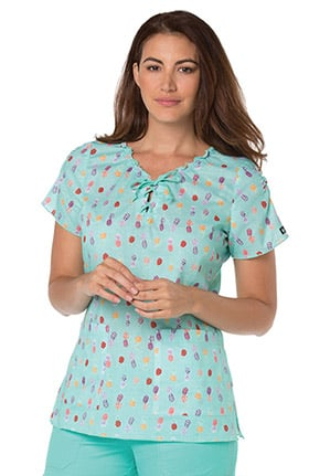koi Prints Women's Emma V-Neck Pineapple Print Scrub Top