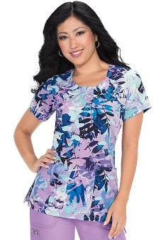 Clearance Koi Prints Women's Adalyn Pleated Neck Floral Print Scrub Top