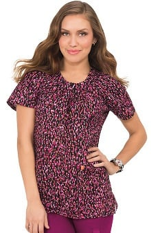 koi Prints Women's Adalyn Pleated Neck Abstract Print Scrub Top