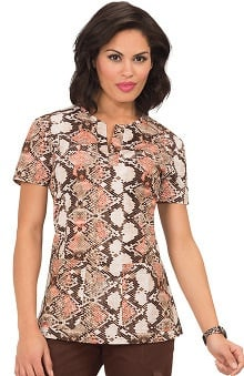 Clearance koi Stretch Women's Tanya V-Neck Animal Print Scrub Top