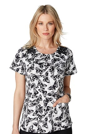 koi Stretch Women's Jennifer Round Neck Butterfly Print Scrub Top