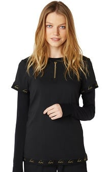 koi Lite Women's Goddess Zip Round Neck Solid Scrub Top