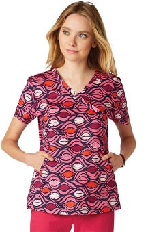 koi Lite Women's Elevate V-Neck Lip Print Scrub Top