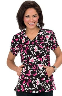 koi Lite Women's Elevate V-Neck Geometric Print Scrub Top