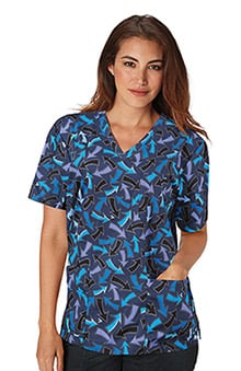 koi Stretch Unisex Ashton V-Neck Geometric Print Scrub Top