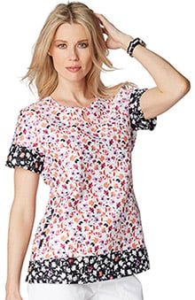 koi Prints Women's Carly Round Neck Floral Print Scrub Top