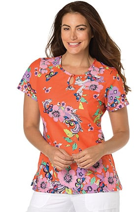 koi Prints Women's Carly Round Neck Butterfly Print Scrub Top