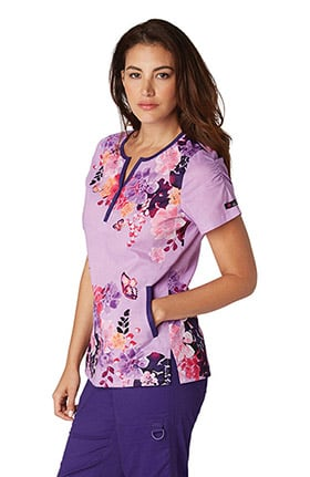 koi Prints Women's Renee Notch Neck Butterfly Print Scrub Top