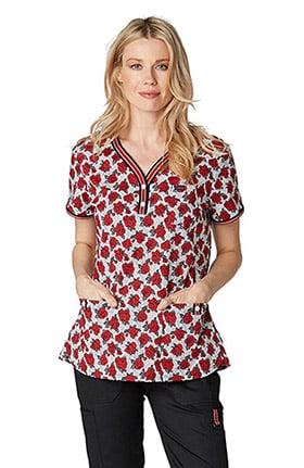 koi Stretch Women's Kayla Henley Floral Print Scrub Top
