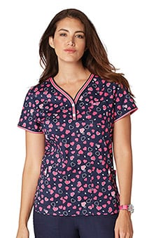 koi Stretch Women's Kayla Henley Heart Print Scrub Top