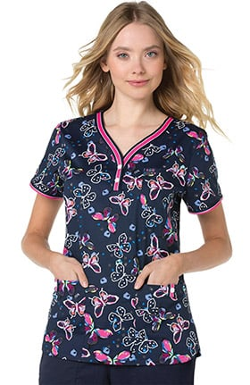 koi Stretch Women's Kayla Y-Neck Henley Butterfly Print Scrub Top