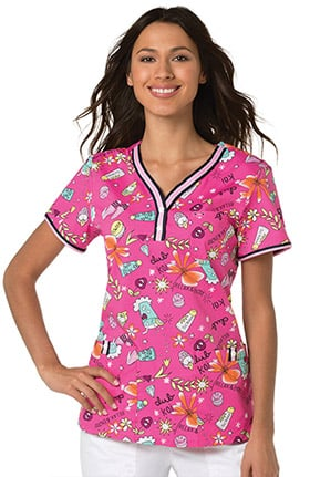 koi Stretch Women's Kayla Y-Neck Henley Floral Print Scrub Top