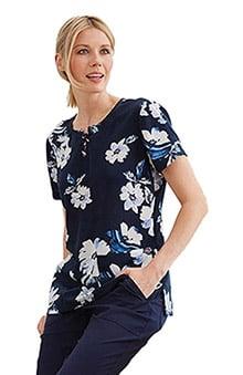 koi Sapphire Women's Camilla Round Neck Floral Print Scrub Top