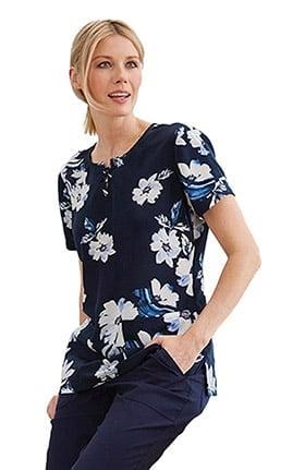 Clearance koi Sapphire Women's Camilla Round Neck Floral Print Scrub Top