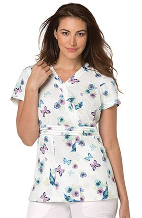 koi Prints Women's Felicite Butterfly Print Scrub Top