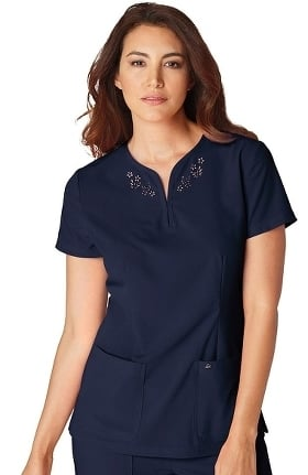 koi Sapphire Women's Talie Notch Neck Laser-Cut Solid Scrub Top
