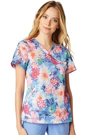 koi Lite Women's Bliss V-Neck Floral Print Scrub Top