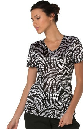 koi Lite Women's Bliss V-Neck Animal Print Scrub Top
