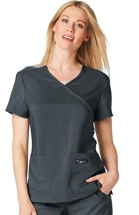 koi TECH Women's Abby Mock Wrap Solid Scrub Top
