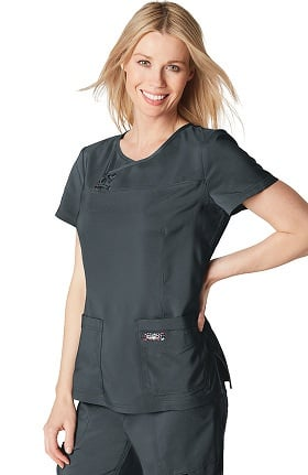 koi TECH Women's Serena Crossover Y-Neck Solid Scrub Top