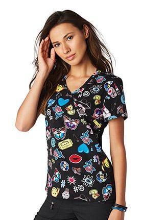 koi Lite Women's Inspire Mock Wrap Emoji Print Scrub Top