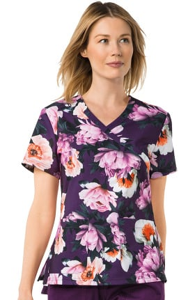 koi Prints Women's Kristen Mock Wrap Floral Print Scrub Top