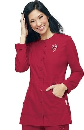 Clearance koi Women's Olivia Round Neck Solid Scrub Jacket