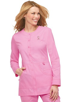 pink ribbon scrubs: koi Breast Cancer Awareness Women's Olivia Round Neck Jacket