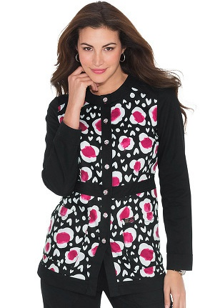 Clearance koi Women's Ophelia Button Front Heart Print Scrub Jacket