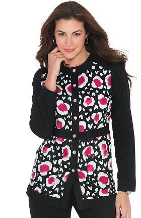 Clearance koi Women's Ophelia Button Front Heart Print Scrub Jacket