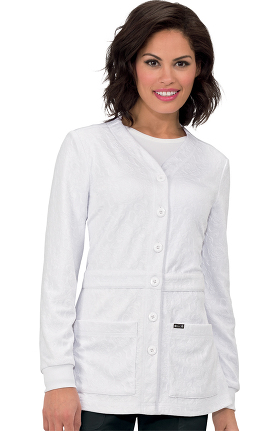 koi Lite Women's Claire Button Front Solid Cardigan Scrub Jacket