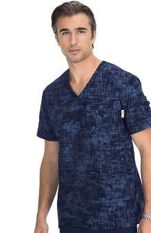 koi Men's Coby V-Neck Navy Camo Print Scrub Top