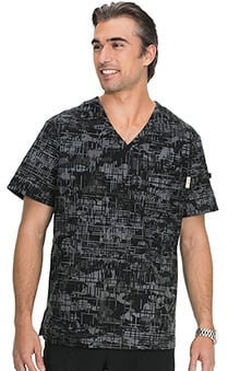 koi Men's Coby V-Neck Black Camo Print Scrub Top