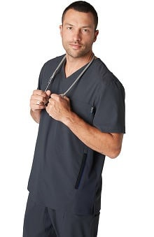 koi Lite Men's Strength V-Neck Solid Scrub Top