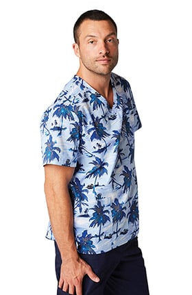 koi Prints Men's Christopher Tropical Print Scrub Top