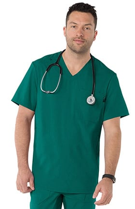 koi Lite Men's Force V-Neck Solid Scrub Top