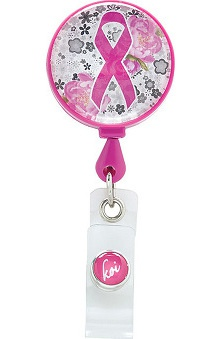 koi Accessories Women's Pink Ribbon Retractable ID Badge Reel