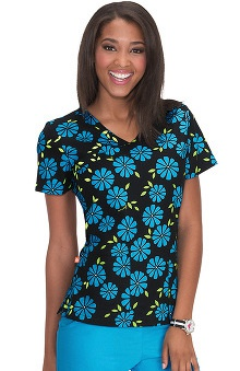 Clearance Orange Standard Women's Malibu Mini Mock Wrap Floral Print Scrub Top