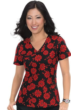 Clearance Orange Standard Women's Malibu Mock Wrap Floral Print Scrub Top