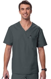 Orange Standard Men's Newport V-Neck Solid Scrub Top